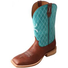 Twisted X Men's Hooey NWS Toe Boot - Cognac/Turquoise  #twistedx #hooey #NWS #cognac #turquoise #cowboyboots #westernbootsales #pungoridge