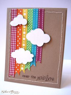 This would be a cute card for Get well- (feeling a little under the weather, just thought I would send you a little cheer) I love this Over The Rainbow Card. Spring crafts for kids can be the perfect pick me up! Ribbon Cards, Paper Cards, Scrapbooking Layouts, Scrapbook Cards, Tarjetas Diy, Rainbow Card, Rainbow Ribbon, Rainbow Paper, Spring Crafts For Kids