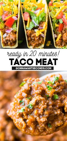 *NEW* I'm telling you- this taco meat recipe is so easy you'll never use the packages again! It's almost ready in 20 minutes, also it freezes perfectly! Saucy and spiced to perfection, this recipe will be a hit with any taco lover! #Tacos #TacoMeat #EasyRecipes #TacoTuesday #Taco #FreezerFriendly #EasyDinner #WeeknightMeals