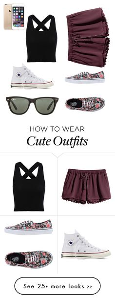 Cute outfit:) by savannah-mottl on Polyvore featuring Converse, Ray-Ban, HM and Vans