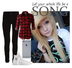 """""""Untitled #1007"""" by tay-tay-marie ❤ liked on Polyvore featuring VILA, LE3NO and Converse"""