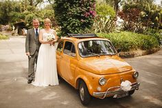 A Yellow Fiat 500 And Maids in Olive Green For A Relaxed Italian Wedding  Photography http://www.arj-photo.co.uk/