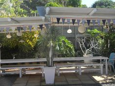 Home blues Jellyfish, Bunting, Bespoke, Pergola, Blues, Outdoor Structures, Events, Home, Design