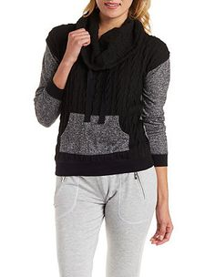 d26b4849f7 Cable Knit Cowl Neck Pullover by Charlotte Russe - Black