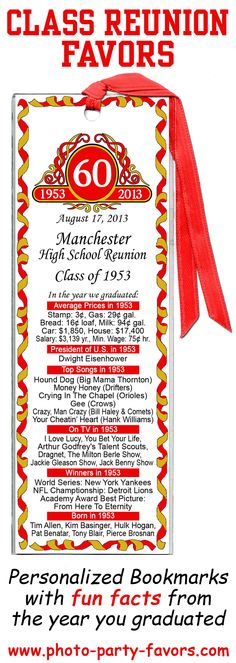 Idea for Class Reunion Favors - These bookmarks personalized in your school colors will get your classmates talking about the good old days by reminding them of the price of gas the year they graduated, their favorite songs, tv shows, who won the World Series and more! http://www.photo-party-favors.com/class-reunion-favors.html