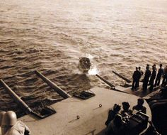 Battle for Iwo Jima, February-March 1945. Battle damage to USS Pensacola (CA 24) caused by Japanese shore batteries on Iwo Jima. Pensacola took six hits from enemy shore batteries as her guns covered operations of the minesweepers close inshore. On 17 February, three of her officers and 14 men were killed. Another five officers and 114 men were injured. Official U.S. Navy photograph, now in the collections of the National Archives.