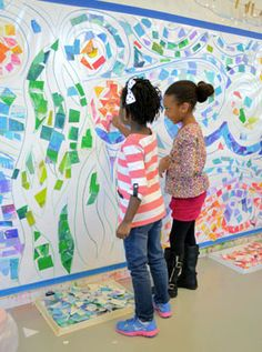 """This giant 5 foot tall mosaic wall, inspired by Vincent Van Gogh's """"Starry Night"""", was a collaborative project at the small hands big art Fall Festival. .. Self-adhesive vinyl - The large rolls that professional printers use for large format sign printing."""