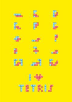 minimalism tetris sex positions yelow poster