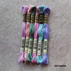 Watercolors 6 skeins of Coordinating Embroidery by bbdsupplies