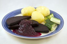 """Blodpudding (Black pudding) The Swedish name literally means """"blood pudding"""". Sweetened and spiced, it is eaten with lingonberry jam, and sometimes bacon. Swedish Cuisine, Kingdom Of Sweden, Black Pudding, Swedish Recipes, White Meat, Sauerkraut, Finger Foods, Food To Make, Bacon"""