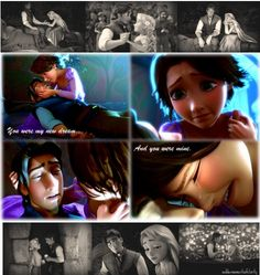 Day My favorite romantic moment Pretty much everything between Rapunzel and Flynn. But this scene made me cry and it was just so sweet. Walt Disney, Disney Couples, Disney Girls, Disney Love, Disney Magic, Frozen And Tangled, Disney Tangled, Disney Memes, Disney Quotes