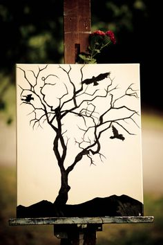 Painting of Tree with Crows acrylics on by WoodlandArtStudio, $60.00