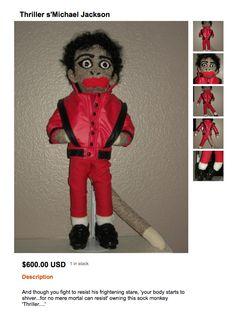 """Michael Jackson """"Thriller"""" Sock Monkey.  Only $600!"""