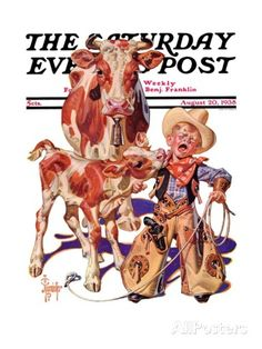 """Little Cowboy Takes a Licking,"" Saturday Evening Post Cover, August 1938 By Joseph Christian Leyendecker Vintage Cowboy Nursery, Western Nursery, Cowboy Bedroom, Jc Leyendecker, Norman Rockwell Art, Little Cowboy, Saturday Evening Post, Cowboy Art, Cowboy Chic"