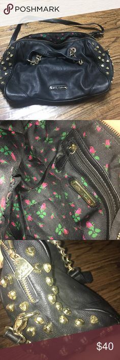 Betsey Johnson shoulder bag with heart-studs Black leather with gold chains and heart studs! Super cute black interior with red roses. In great shape! Betsey Johnson Bags Shoulder Bags