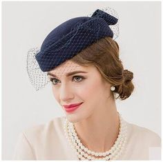 55d0a8334379a Navy bow beret hat with veil for women soft wool hats autumn wear