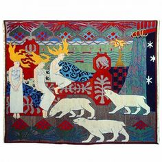 Daughters Suitors of the Northern Lights by Gerhard Munthe Textile Tapestry, Tapestry Weaving, Textile Art, Modern Tapestries, Textiles, Abstract Styles, Needlepoint, Quilt Patterns, Folk Art