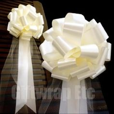 Ivory Wedding Pull Bows with Tulle Tails  9″ Wide Set of 6