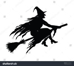 Find Witch Flying On Her Broomstick Silhouette stock images in HD and millions of other royalty-free stock photos, illustrations and vectors in the Shutterstock collection. Thousands of new, high-quality pictures added every day. Casa Halloween, Halloween Icons, Halloween Magic, Halloween Labels, Holidays Halloween, Halloween Themes, Halloween Crafts, Halloween Decorations, Vintage Witch