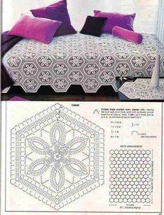 Crochet flower hexagon