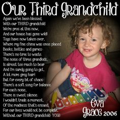 THIRD Grandchild Poem Block- XL Personalized Photo Blocks- Custom made to order with poem quote or scripture