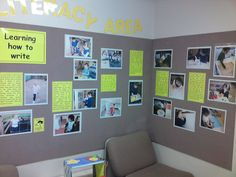 Capture pictures of kids reading and writing, then display in front lobby? Possibly next to student writing...