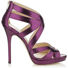 Jimmy Choo Collar Bilberry Watersnake Platform Sandals found on Polyvore