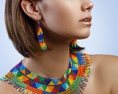 Beautiful Embera Huichol Fusion Necklace by BiuluArtisanBoutique
