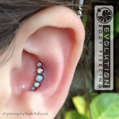 Fresh conch piercing with opal and titanium jewelry by Anatometal (at Evolution Piercing) Body Jewelry Piercing, Daith Piercing, Ear Jewelry, Piercing Tattoo, Jewlery, Industrial Earrings, Cool Piercings, Piercing Ideas, Fresh