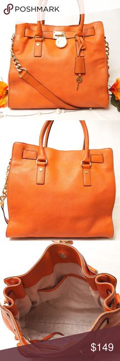 """EUC MICHAEL KORS HAMILTON ORANGE LEATHER TOTE BAG Adorable Color!! Beautiful style. Preloved in excellent condition both exterior and interior. Barely used. No significant signs of wear. This is one of the most beautiful thing your closet will have. Excellent bag to use for office and for daily use. Size 13""""x14""""x5"""". Pet smoke free home.  AUTHENTIC❣️LEATHER ❣️FAST SHIPPING!  ⏳My items sell fast. Get them before gone.⌛️Please see my other listings. Bundle & save 20%+shipping...🎯 Michael Kors…"""