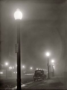 "January ""Foggy night in New Bedford, Massachusetts."" Medium-format safety negative by Jack Delano. Office of War Information. (via Film Noir: 1941 Old Photography, Street Photography, Black White Photos, Black And White Photography, Bedford Massachusetts, Porto Rico, New Bedford, Fotografia Macro, Nocturne"