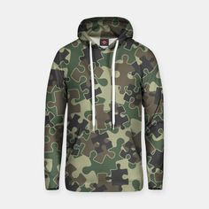 Jigsaw Puzzle Pieces Camo WOODLAND GREEN Hoodie, Live Heroes