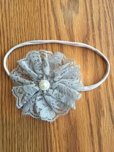 Gray Vintage Lace Flower Headband with Pearl Center, Girls, Toddlers, Hair Accessories, Newborn, Photo Prop, Easter, Stretchy Headband, by CottonCandyBows on Etsy