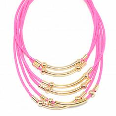 Hot Pink waxed Cords and Gold Bars necklace #ZokyDoky www.zokydoky.com