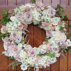 Myrtie Blue - floral wreath with pink and white flowers; hydrangeas, rose, scabiosa, astilbe, clematis and dahlias.
