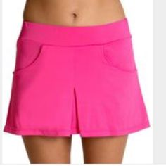 "Be up playful pink skort New with tags. Super comfy and super stretchy!  front pockets. 14"" long. Wide soft elastic waist. 92% polyester 8% spandex. Be confident. Be inspired. Be yourself. Be up! Ideal for yoga or workout. Moisture wicking, fully breathable, fast drying, 4 way stretch, color fast, extra durable, holds shape, muscle support. Be up Shorts Skorts"