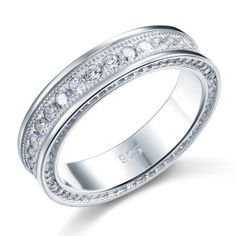 Round Cut Micro Pave CZ Cubic Zirconia Sterling Silver Ring by CubicZirconiaRings, $39.95