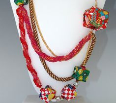 Origami and  Beadwork Necklace Finalist in Fire by BeadsNJane, $750.00