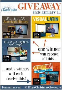 3 winners in this homeschool giveaway from Compass Classroom!