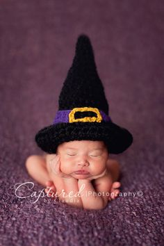This adorable newborn witch hat is made from a super soft wool blend yarn. It is the perfect hat to dress your little one up for those Halloween photos or to take trick or treating! It is crocheted in