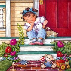 There was a little girl who had a little curl Right in the middle of her forehead....... From my Mother Goose book, available at bookstores, Amazon by Mary Engelbreit