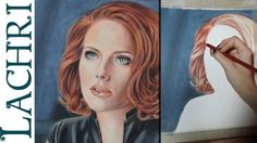 Speed Drawing Scarlett Johansson colored pencil fan art - Time Lapse Demo by Lachri