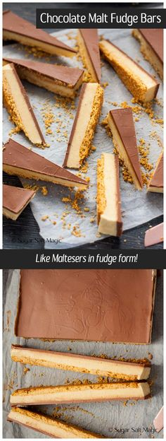 Chocolate Malt Fudge Bars. A creamy malted milk fudge filling on a biscuit base and covered in chocolate. This is like Matesers in fudge form. #fudge #maltesers via @sugarsaltmagic