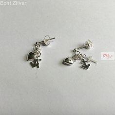 Zilveren hoop geloof en liefde oorstekers, hangers €9.95 inclusief verzenden - ZilverVoorJou Echt 925 zilveren sieraden
