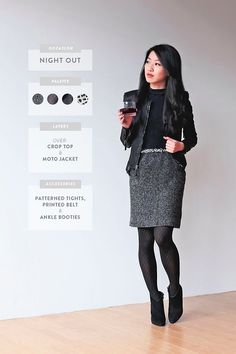 17 Super Useful Styling Tips For Women Under 5'4 - the leather jacket and skirt are super cute! Not else about high heels but lower heeled booties would work.
