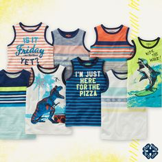 Hand-drawn graphics, vintage geo prints, slogans with a little attitude… summer tanks are in! Collect them all!