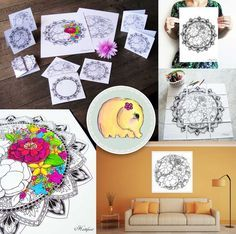 Coloring Flowers to bring Spring closer to our Hearts again. But not only pages, color cards, posters - color to relax and send joy to others with Hattifant