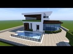 here Minecraft building tutorials on how to build modern and small survival style houses! Gaming Entertainer - Main Focus is Minecraft Tutoria. Minecraft Mods, Minecraft Villa, Plans Minecraft, Architecture Minecraft, Minecraft World, Minecraft Youtube, Modern Minecraft Houses, Minecraft Mansion, Minecraft House Tutorials