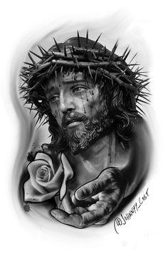 Jesus Tattoo Design, Tattoo Design Drawings, Tattoo Sketches, Heaven Tattoos, God Tattoos, Tattoos For Guys, Best Sleeve Tattoos, Cover Up Tattoos, Tattoo Sleeve Designs