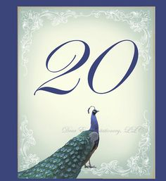 Great Gatsby Peacock Table Number or Wine Bottle Label by dearemma, $2.50